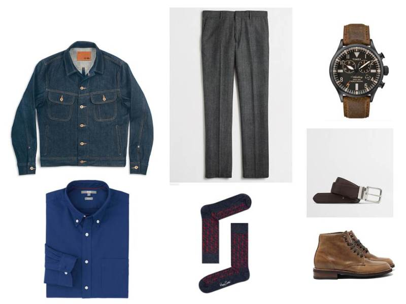 A denim jacket + slim wool trousers = a whole new way to view your work wardrobe.