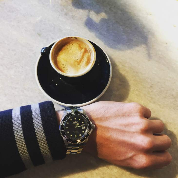 A delicious coffee from Shinola's in-store cafe is crucial. Collegiate Bomber by JackThreads. Stainless steel dive watch by Invicta.