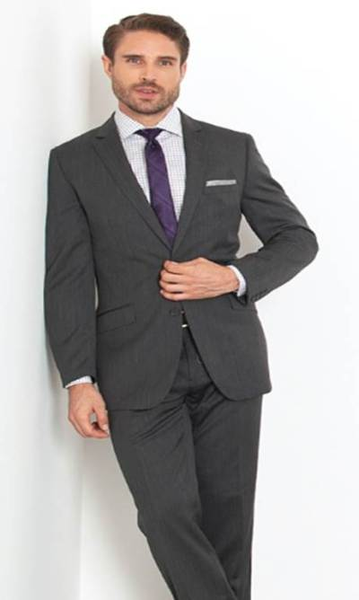 A reliably classic color and cold-weather fabric make this suit a winner.