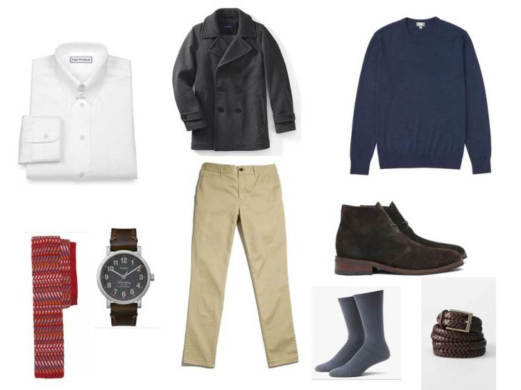 Taking a crewneck sweater and dressing it up with a unique tie, suede chukkas and essential chinos.