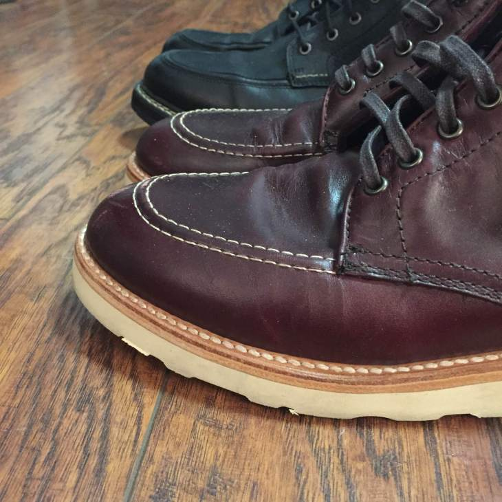 Lining them up after a few weeks of wear. With some care and treatment, the Color No. 8 Diplomat Boot should hold up just fine.