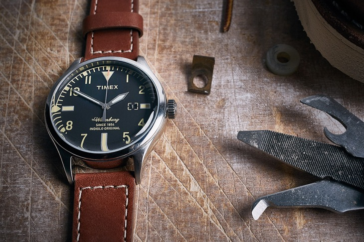 Possibly the perfect watch? Red Wing shoe leather meets a tough-yet-sharp Timex dial.