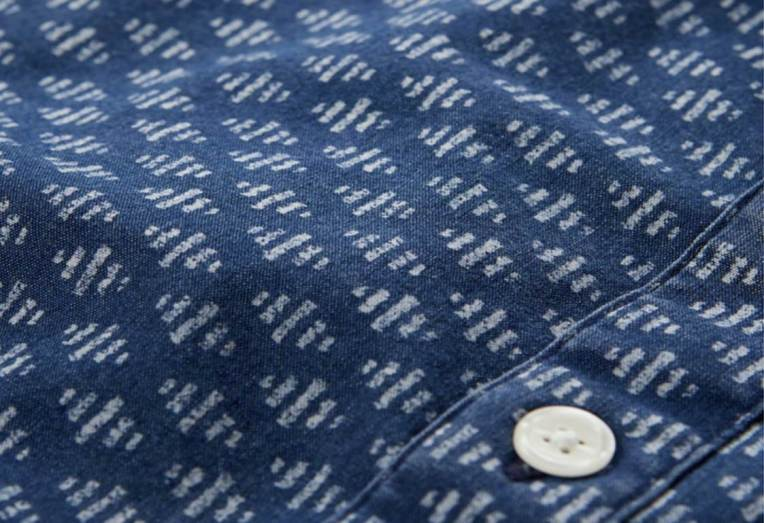 A deep blue color and refined pattern set this Abercrombie & Fitch shirt apart from the brand's other offerings.