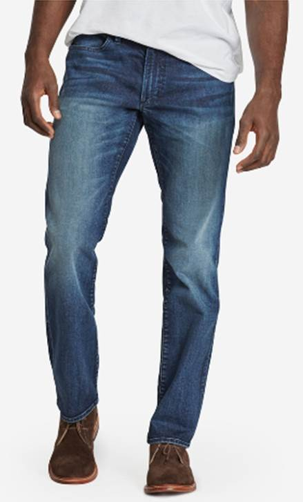 A rough-and-tumble wash gives this denim a unique look.