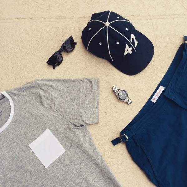 Casual gear to cap off the trip. Setter Swim Trunks by Orlebar Brown. Heather grey pocket tee by Tommy John. Vintage ballcap by Goorin Brothers. Sunglasses by Tom Ford. Stainless steel dive watch by Invicta.