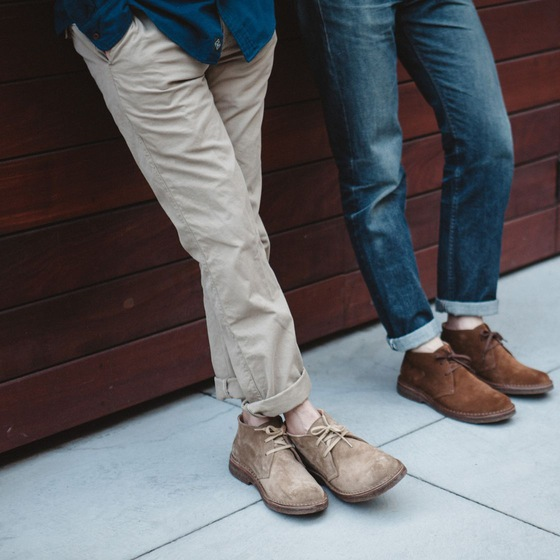Suede chukkas work in plenty more seasons than one. Read on for more details on the pair at left. Image courtesy of Huckberry.