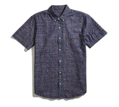 A slight deviation from the standard chambray shirt in terms of pattern (and the lack of, y'know, sleeves).