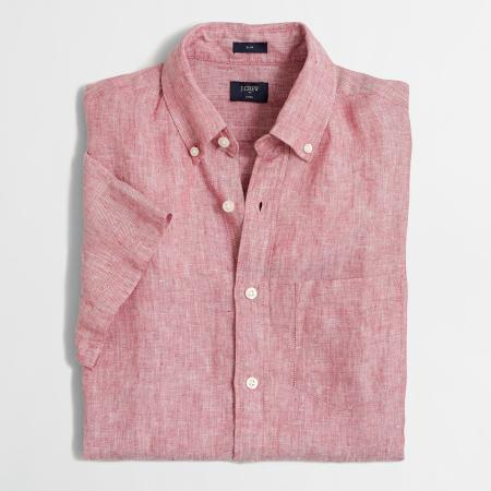 Linen is the way to go in terms of keeping cool this summer -- short sleeves make it all the easier.
