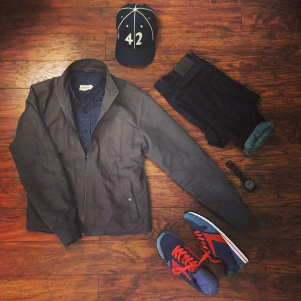 A casual, cool outfit for exploring Washington, D.C. Hayden Gray Jacket by Bridge & Burn. Indigo Denim Jack Shirt by Taylor Stitch. Dark denim by Mott & Bow. Chariot Sneakers by Brooks Heritage. Pilot's watch by AVI-8. Vintage ballcap by Goorin Brothers.