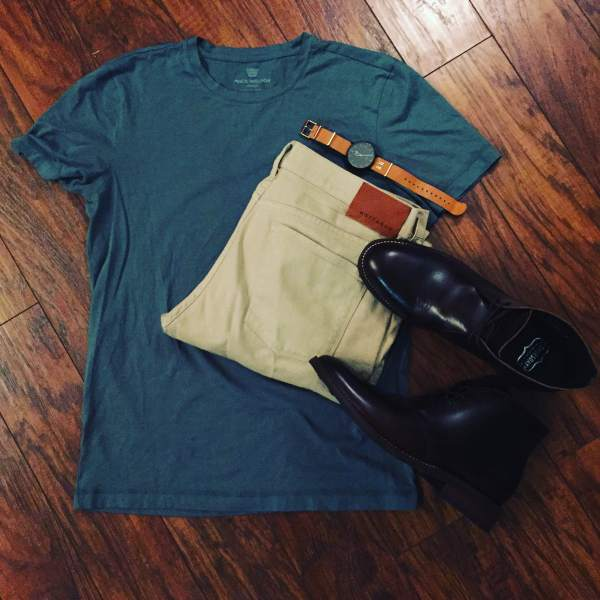 Sunday's outfit grid for D.C adventures -- a Pima Crewneck Tee from Mack Weldon, Slim Light Mercer Denim from Mott & Bow and Brown Scout Chukka Boots from Thursday Boots. Customized Fairfield Watch by Timex.