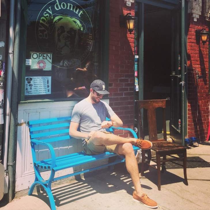 Saturday's travel outfit in action outside Gypsy Donut. Heather Grey Pocket Tee by Richer Poorer. Stringer Dune Shorts and Flat Wool Cap by Bridge & Burn. Cooper Boat Shoes by Jack Erwin. Watebury Chrono from the Timex x Red Wing collab. Maximus Sunglasses by Sunday Somewhere.