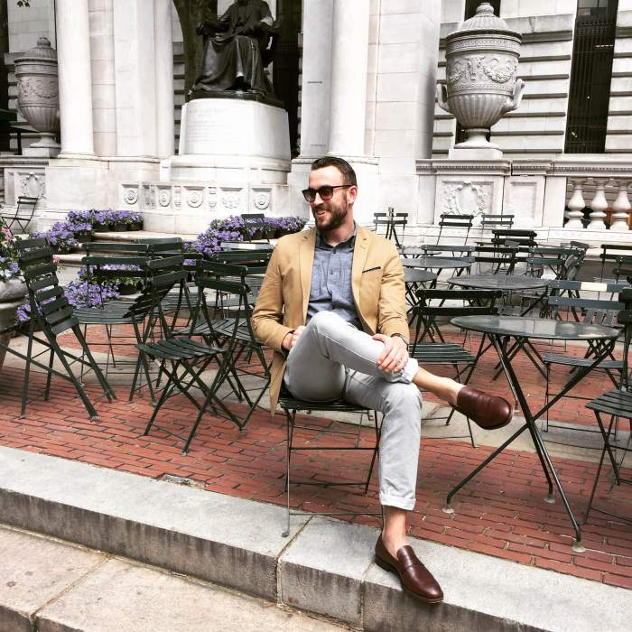 An outfit fit for the cubicle and a Broadway viewing. Slim-Fit Travel Jacket by Combatant Gentleman. Slim grey chinos by Bonobos. Slim chambray shirt by Old Navy. Archie Penny Loafers by Jack Erwin. Maximus Sunglasses by Sunday Somewhere. Customized Weekender Fairfield by Timex.