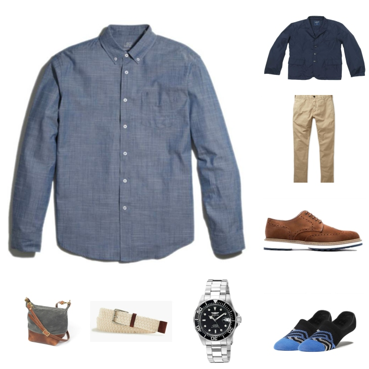 A few items -- like a four-season chambray shirt and classic (yet slim) chinos -- are pulled together by crisp wingtips and a great jacket.