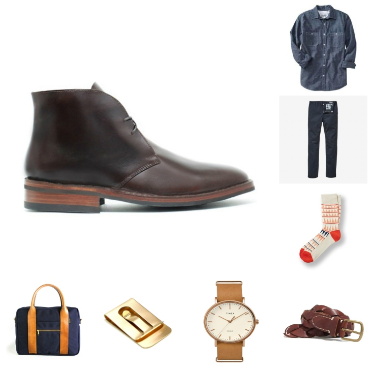 Taking a classic pair of brown leather chukka boots and pairing them with style staples -- simple, effective and sharp!