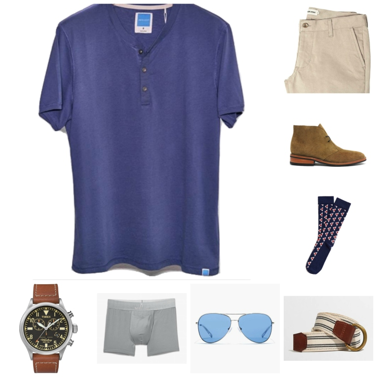 Pair a short-sleeve henley with staples you might already have in your closet, like stone chinos and suede chukka boots.