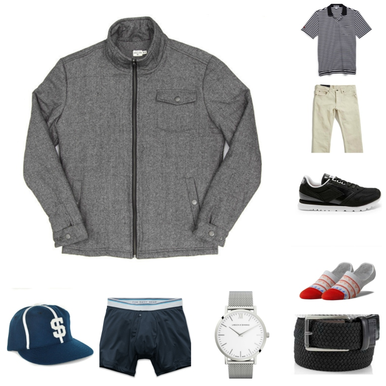 Mixing great outerwear with a retro polo and sneakers.