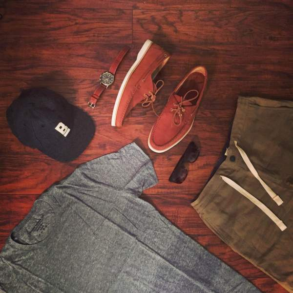 Saturday's outfit to beat the heat. Stringer Dune Shorts and Flat Wool Cap by Bridge & Burn. Cooper Boat Shoes in Caramel Nubuck by Jack Erwin. Maximus Sunglasses by Sunday Somewhere. Waterbury Chrono from the Timex x Red Wing collab.