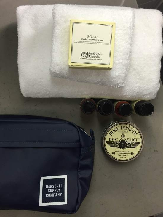 A look at some of the stylish grooming essentials from C.O. Bigelow provided by the hotel, plus my Herschel Supply Chapter Travel Kit and Doc Elliott Pomade.