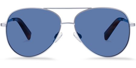 A reliably stylish frame shape and a cool color to pair up with the other shades of blue in the outfit.