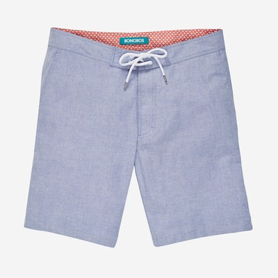 A longer inseam for us taller guys, plus a sharp blue chambray color.