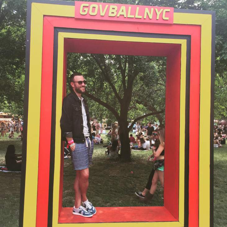 Taking in Governor's Ball, day two. Slim-fit Henley by Old Navy. Denim jacket by American Apparel. Indigo Linen-Blend Shorts by JACHS NY. Luca Sneakers by SWIMS Official.