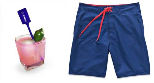 The brand's 9OH2O Swim Shorts are a classic pairing alongside a tasty beverage.