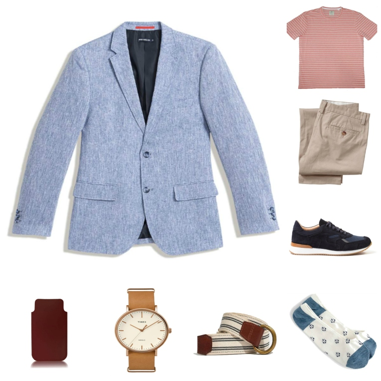 An effortless mix of casual and cool --  a chambray blazer plus a simple striped tee.