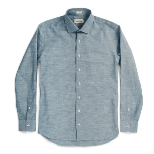 A classic chambray shirt never fails, especially one cut a bit dressier.