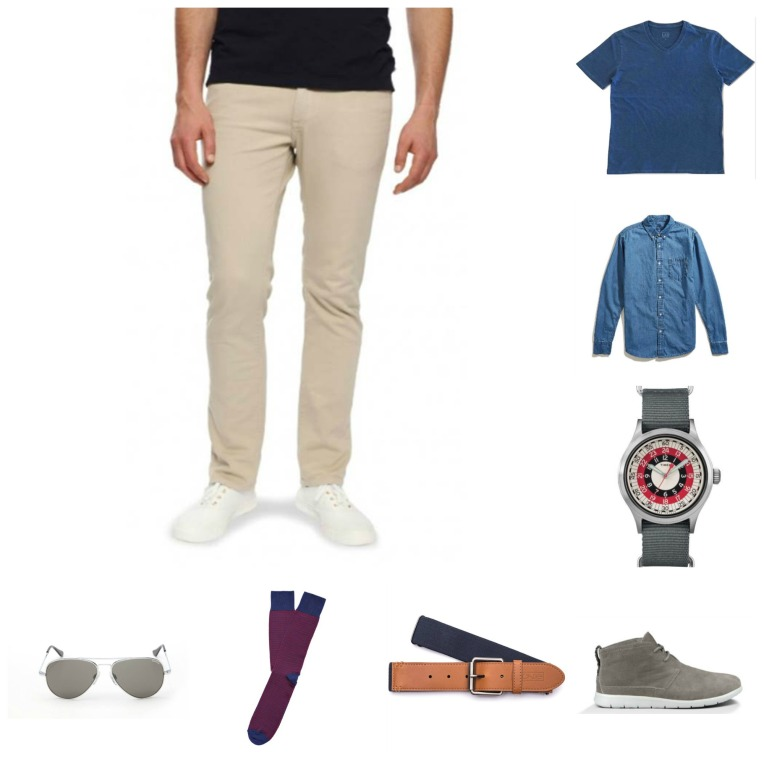 Pairing up items you've already got -- like a V-neck tee -- with sharp sunglasses, lightweight sneakers and a trusty denim shirt.
