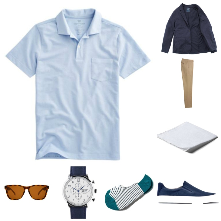 Mashing up your favorite style essentials, from a crisp summer polo to a classic blazer and comfortable slip-on sneakers.
