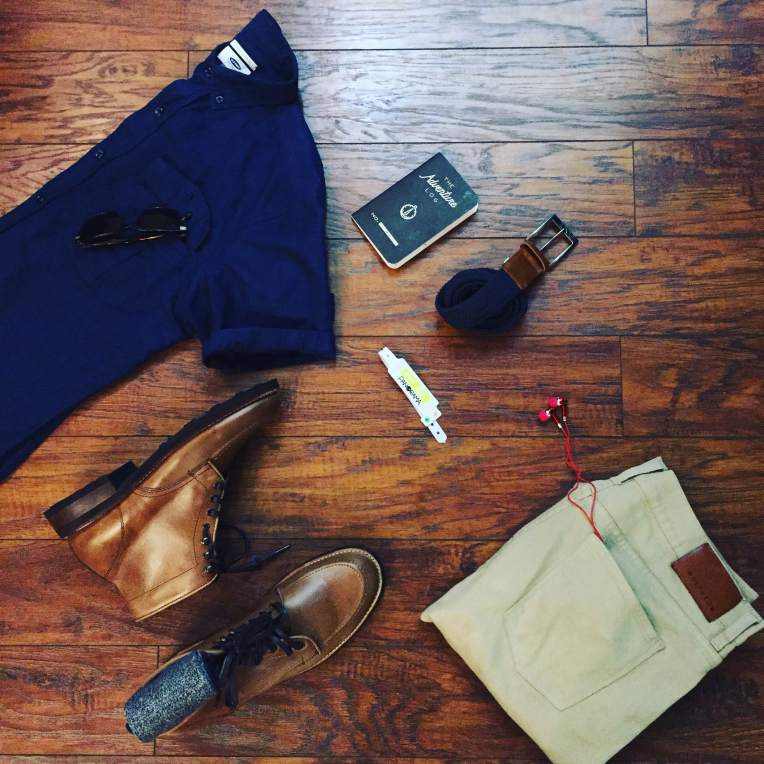 Ready for a full day of rocking out. Linen-Blend Shirt by Old Navy. Slim Light Mercer Denim by Mott & Bow. Natural Diplomat Boots by Thursday Boots. Troubadour Socks by Richer Poorer. Hudson Belt by Arcade Belts. Adventure Log by Word Notebooks. Wristband by Panorama NYC.