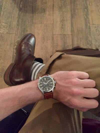 Take twill chinos from Savane, add American Trench striped socks, leather chukka boots from Thursday Boots, and a tough leather watch from the Timex x Red Wing collab.