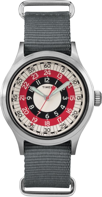 A closer look at the red-and-black mod bullseye design, inspired by the Timex archives. Photo courtesy of the brand.