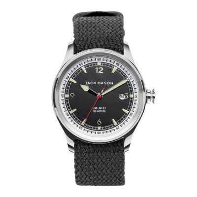 A sporty perlon strap and a refined dial design bridge the gap between casual and dressy.