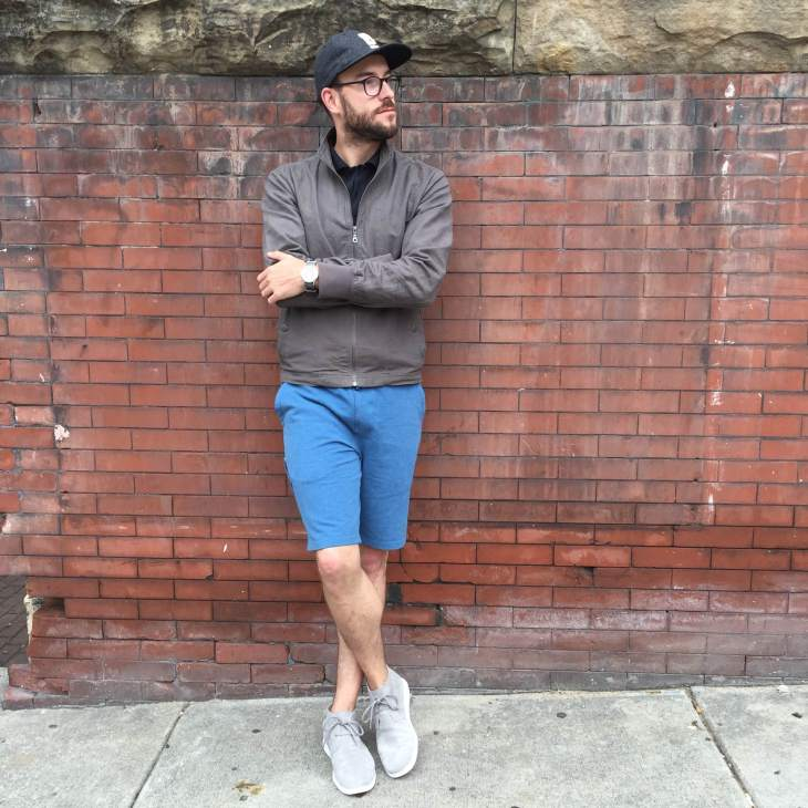 Taking on Saturday in sporty, casual style. Vesper Polo and Ace Short by Mack Weldon. Hayden Gray Linen Jacket & Flat Wool Cap by Bridge & Burn. Freamon Sneakers by UGG. Mod Watch from the Timex x Todd Snyder collab. Glasses by Warby Parker.
