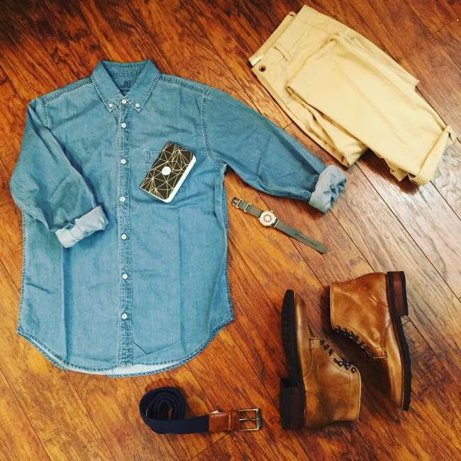 Sunday's outfit grid for a day of travel. Denim Shirt by JackThreads. Slim Stone Chinos by Taylor Stitch. Natural Diplomat Boots by Thursday Boots. Hudson Belt by Arcade Belt Co. Mod Watch by Timex x Todd Snyder. Notebook by Word Notebooks.