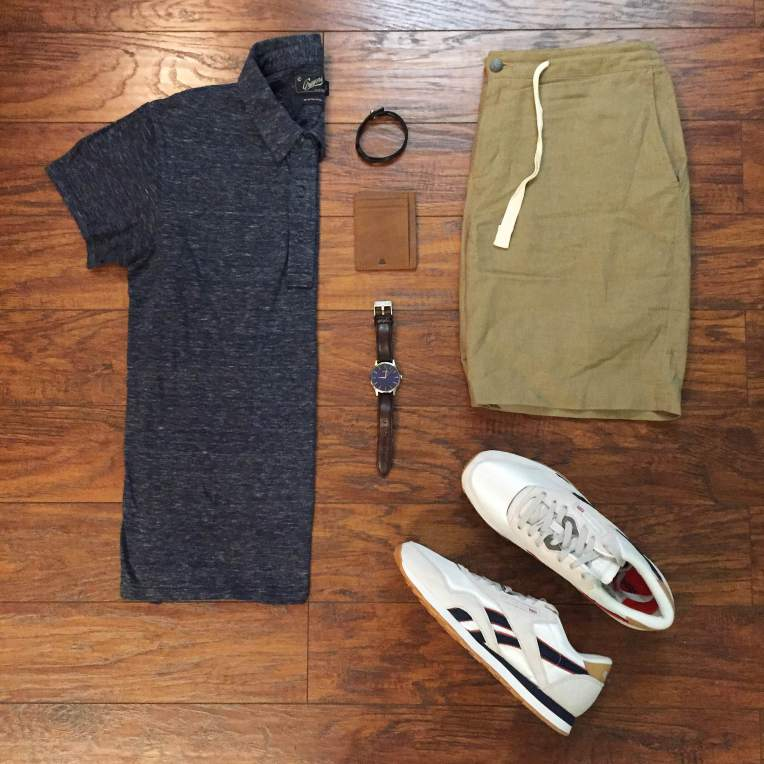 Sharp Saturday style. Slub Nep Jersey Polo by Grayers. Stringer Dune Shorts by Bridge & Burn. Daily Classic Nylon Sneakers from the Reebok x JackThreads collab. Brown leather watch by MVMT Watches. Scout Wallet by Andar Wallets. Leather bracelet by Bryer Leather.