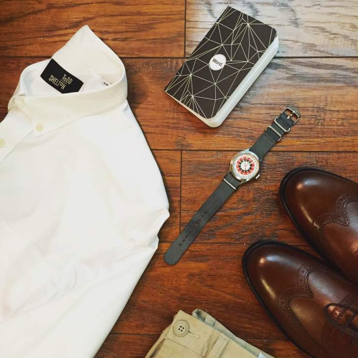 Crisp classics for Sunday travel. White Oxford by Todd Shelton. Slim chinos by Old Navy. Duvall Wingtips by Johnston & Murphy. Notebook by Word Notebooks. Mod Watch by Timex x Todd Snyder.