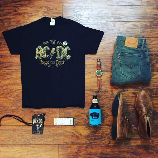 An outfit that's ready to rock. Authentic band tee and tickets by AC/DC. 505C Denim by Levi's. Chukkas by Timberland. Waterbury Chrono from the TImex x Red Wing Heritage collab. Double IPA by Two Roads Brewing.