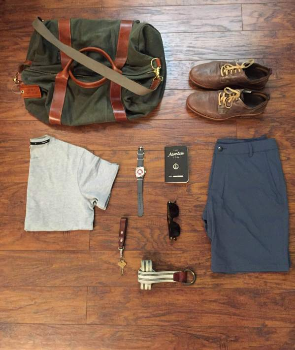 Travel essentials fit for Vegas. Voyager Waxed Weekender by Owen & Fred. T-shirt by Public Rec Apparel. Capital Shorts by OLIVERS Apparel. Adventure Log by Word Notebooks. Mod Watch by Timex x Todd Snyder. Sunglasses by Steven Alan Optical. Belt by J. Crew. Lanyard by Tanner Goods.