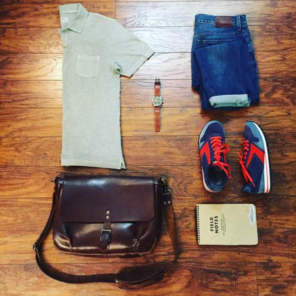 A comfortable, casual and crisp travel outfit. Polo by Life/After/Denim. Warren Denim by Mott & Bow. Chariot Runner Sneakers by Mott & Bow. Steno Book by Field Notes Brand. Waterbury Chrono by Timex x Red Wing Heritage. Slim Mailbag by Satchel & Page.