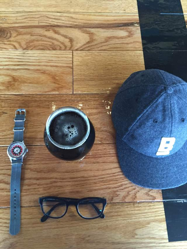 All the gear fit for grabbing a quick pint. Flat Wool Cap by Bridge & Burn. Mod Watch by Timex x Todd Snyder. Glasses by Frameri. Bond Street Brownie by Dark City Brewing Company.