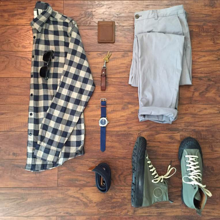 Mixing the old with the new for a casual Monday. Premium Wrinkle Twill Slim-Fit Shirt by Dockers. Grey Bowie Fit Stretch Cotton Chinos by JACHS. Grounder Hi-Tops by Todd Snyder + P.F. Flyers. Nautical 3-Hand Watch by Jack Mason. Scout Wallet by Andar Wallets. Leather lanyard by Tanner Goods. Hudson Belt by Arcade Belt Co.