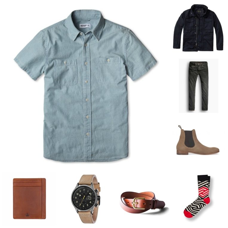 Ready for the front row -- a chambray shirt, slim black denim and Chelsea boots are about as concert-ready as it gets.