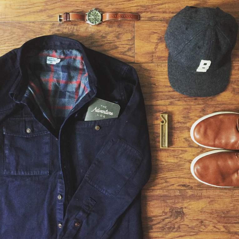 Rugged essentials for a slight transition to fall. Flint Overshirt and Flat Wool Cap by Bridge & Burn. Kramer Sneakers by UGG for Men. Waterbury Chrono from the Timex x Red Wing Heritage collab. Brass bottle opener by Owen & Fred.