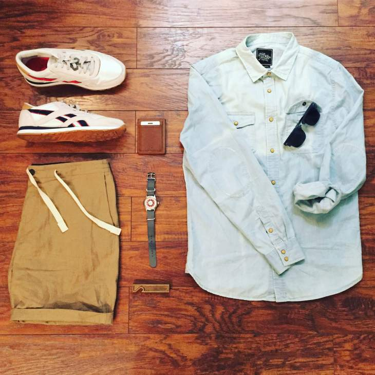 Mixing retro-inspired kicks with lightweight summer classics. Denim Shirt by JACHS NY. Stringer Dune Shorts by Bridge & Burn. Daily Classic Nylon Sneakers from the Reebok x JackThreads collab. Mod Watch by Timex x Todd Snyder. Scout Wallet by Andar Wallets. Sunglasses by Nautica.