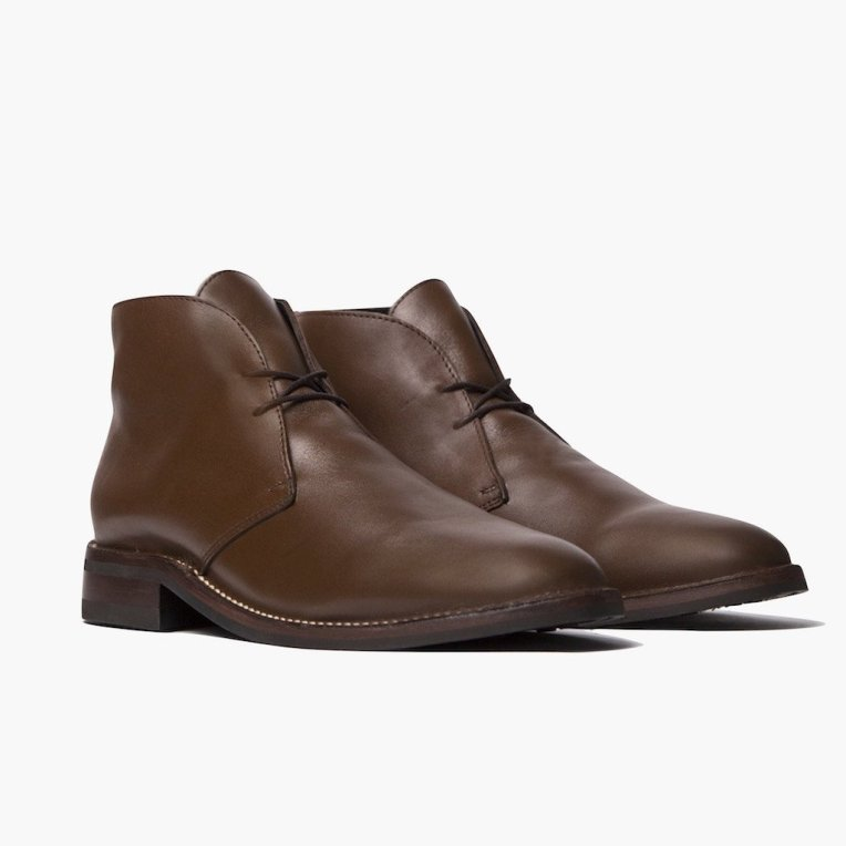 A rich pair of brown leather chukkas practically made for fall.