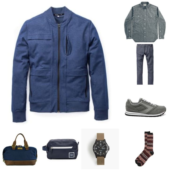 Mixing the classics - like a chambray shirt & denim -- with a comfortable bomber & travel accessories.
