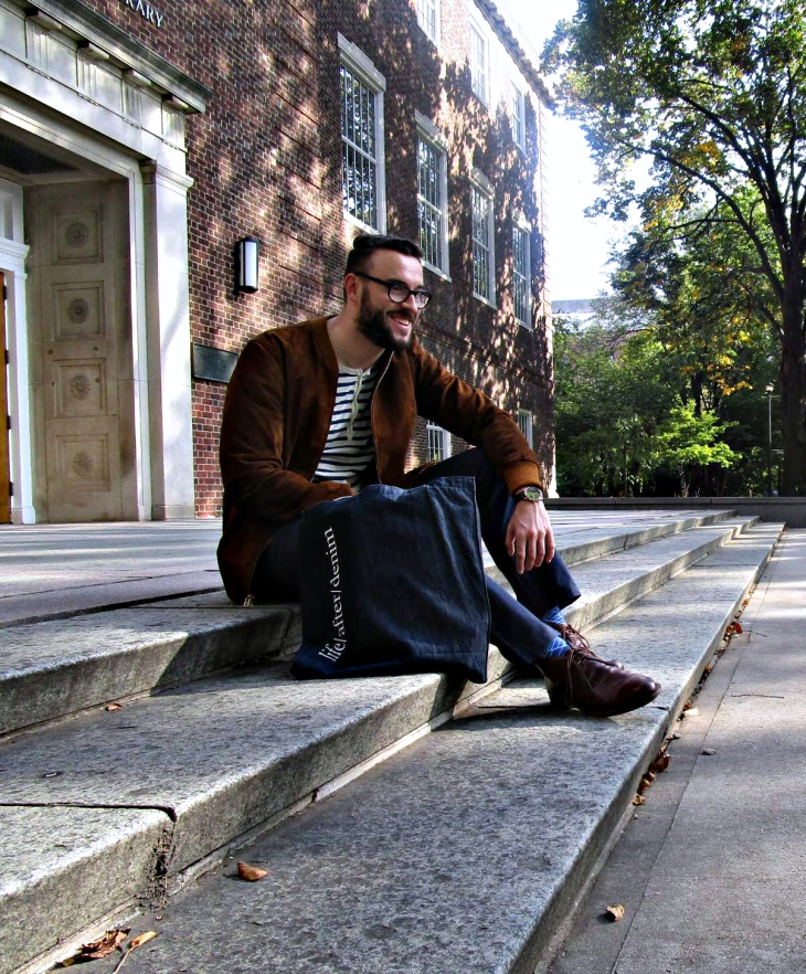 A jacket you'll want to pre-fund now -- and wear as soon as you receive. Cole Bomber Jacket and leather chukkas by Beckett Simonon. Striped henley by J. Crew. Navy chinos c/o Forever21 Men. Brown leather watch by MVMT Watches. Glasses by Frameri. Patterned socks by Effio.