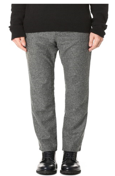 A unique pair of tapered tweed pants that can be worn casually or with tailored gear.